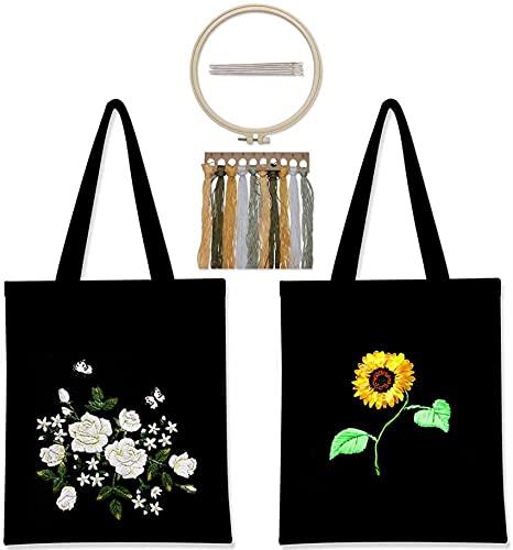 SpiceRack Ecofriendly Tote Kit de Bordado de Bolsa de Lona de 2 Piezas, Kits de Punto de Cruz para Adultos, Kit de Inicio de Bordado, Incluye Bolsa de Bordado con Estampado Floral, Aros de b