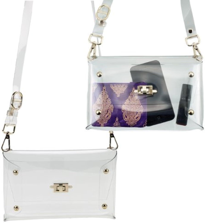 Clear Shoulder Clutch Handbag w Turn Key Closure