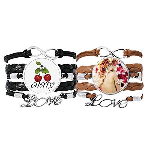 Bestchong Pulsera de piel con diseño de flores desnudas, con correa de mano, cuerda de piel y cereza, juego doble