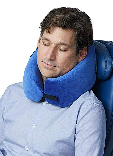 TRAVELREST Nest Patented Memory Foam Travel Pillow/Neck Pillow - Washable - Voted Best Travel Pillow for 2018-2021 by NYTimes Wirecutter - Packs to 1/4 of its Size (2 Year Warranty) (Blue)