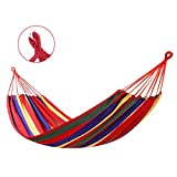 SHANHU Hammock Striped Hammock Outdoor Leisure Bed Thickened Canvas Hammock Sleeping Swing Hammock...