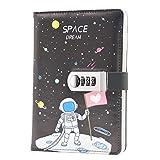 Lirener Creativo PU Notebook Código Libro con la Cerradura(Tema Espacial), A5 Password Notebook Contraseña Bloc de Notas Secret Diary Sketchbook Organizador con Cerradura de Combinación, 145x210mm