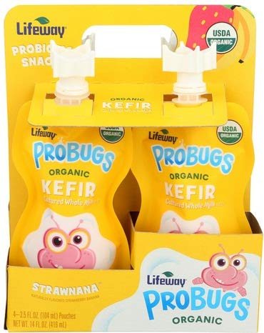 Lifeway Strawnana Organic Probugs Whole Milk Kefir, 3.5 Fluid Ounce - 4 count per pack -- 6 packs per case.