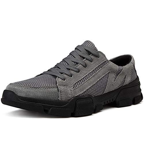 Enjoy4Beauty - Zapatos deportivos para hombre con cordones de malla de estilo ligero y flexible color sólido (color: gris, tamaño: 39 UE)