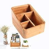Boîte de Rangement Bureau Maison Organisateur Boîte de Télécommande Muli-compartiments Caisse de Rangement en Bambou Coffret de Maquillage Boîte de Stockage Étui Cosmétique 14.5 * 19 * 11CM