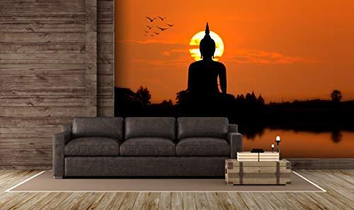 Oedim Tapete Buddha im Sonnenuntergang | Fototapete für Wände | Tapete | Verschiedene Größen 500 x 300 cm | Dekoration für Esszimmer, Wohnzimmer, Wohnzimmer.