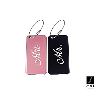 Wedding and Anniversary Gift - Elegant Mr Mrs Luggage Tags with Nice Metal Finish (Now in Pink or Purple)
