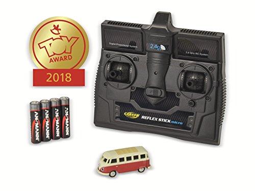 CARSON 500504119 - 1:87 VW T1 Samba Bus 2.4G 100{2e9a64da61a6c46ab78225f17016f23c9a8028cf0ab29fea2183776d0c962267} RTR, Fahrfertiges Modell, 2.4 GHz Fernsteuerung mit Ladeanschluss, inkl. 4xAAA Senderbatterien, mit LED Beleuchtung, Anleitung
