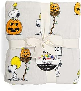 "Peanuts Woodstock Pumpkins Halloween Blanket - Twin Size Throw Blanket (Light Gray Backround) 60"" X 90"""