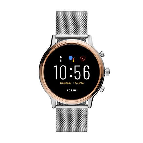Fossil Unisex 44MM Gen 5 Julianna HR Heart Rate Stainless Steel Mesh Touchscreen Smart Watch, Color:...