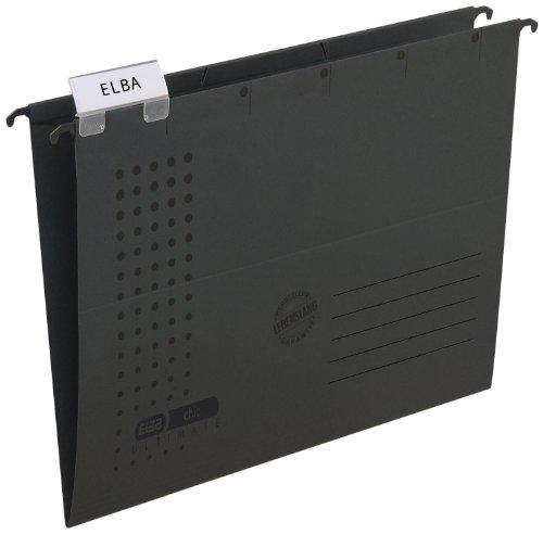 ELBA 100552082 Hängemappe chic ULTIMATE 25er Pack aus Recycling-Karton für DIN A4 seitlich offen in anthrazit