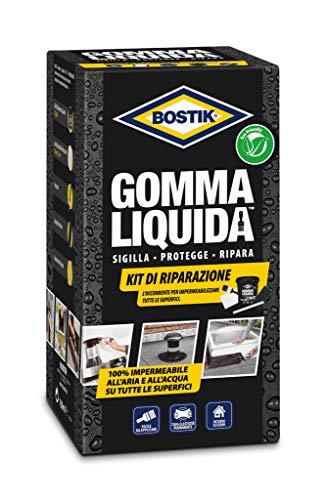 BOSTIK Gomma Liquida Kit di Riparazione rivestimento a base di gomma per sigillature, protezioni e riparazioni 100% impermeabili Kit Completo nero