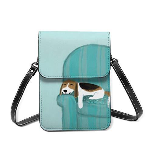 Bolsa de hombro pequeña, Happy Sofa Dog Lindo Beagle relajante Crossbody bolso para teléfono celular, cartera ligera para mujeres y niñas