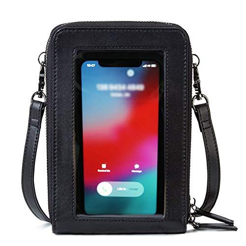 ECOSUSI Donna Borsa a Tracolla per Cellulare Piccola Borsa per 6,7 Pollici Telefoni Cellulari Multifunzione Borsetta a Tracolla con Touchscreen in Pelle con Fessure per carte Nero
