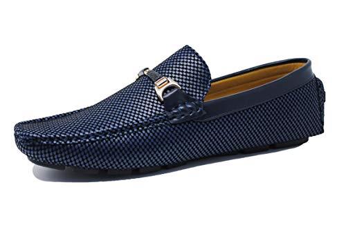 Evoga Mocassini uomo Class estivi casual eleganti in ecopelle (41, 02 blu con fibbia)
