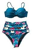 CUPSHE Saphir Blau Floral Bikini, Blau, L