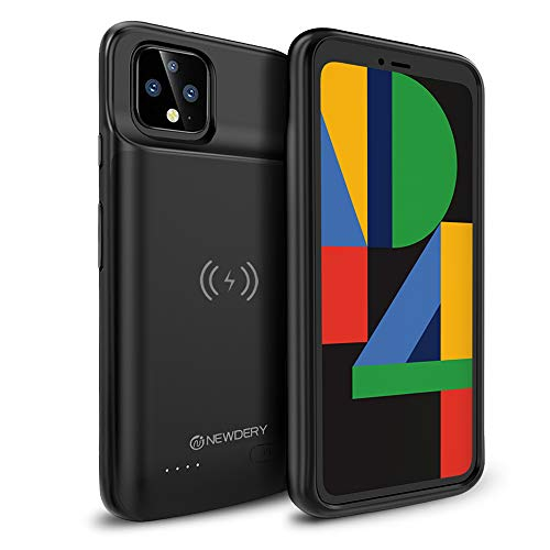 NEWDERY Google Pixel 4 Battery Case, Qi Wireless Charging Compatible, 5000mAh Slim Extended Rechargeable External Charger Case Compatible Google Pixel 4