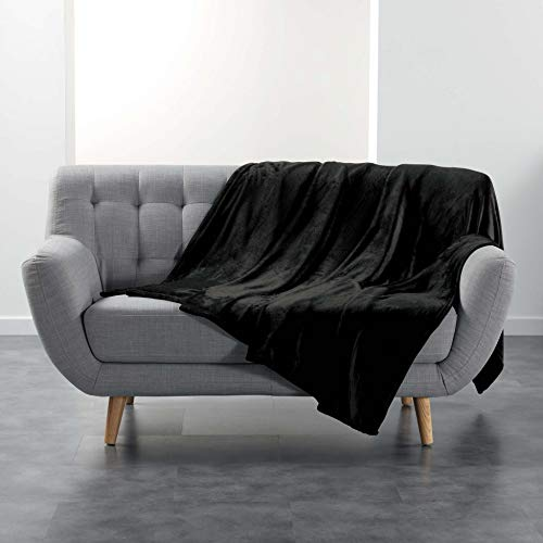 Suave Interior FLANOU Plaid, poliéster, Negro, 180 x 220 cm