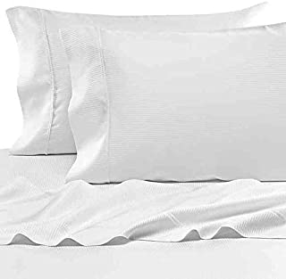 Eucalyptus Origins Tencel Lyocell Queen Sheet Set in White Stripe