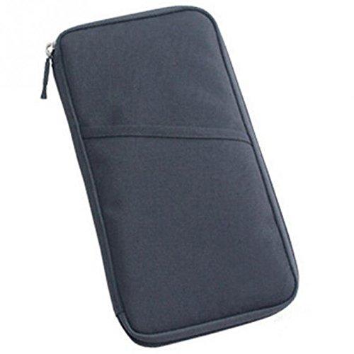 Organizador de documentos para viaje Q4travel. Resistente e impermeable. Portadocumentos, protector para pasaporte y cartera - Gris gris