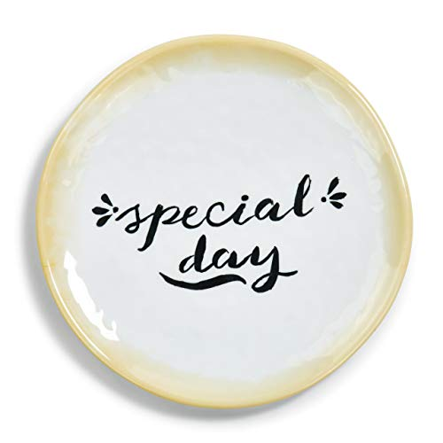 Special Day Round Classic White and Gold Tone 6 x 6 Melamine Decorative Plate