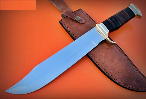 Poshland REG-HKC-134 Handmade High Carbon Steel 16.6 inch Hunting Knife - Beautiful Leather Sheet Handle with Brass Bolster