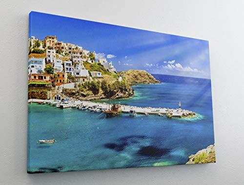 Hafen Schiffe Griechenland Kreta Leinwand Bild Wandbild Kunstdruck L0461 Größe 70 cm x 50 cm