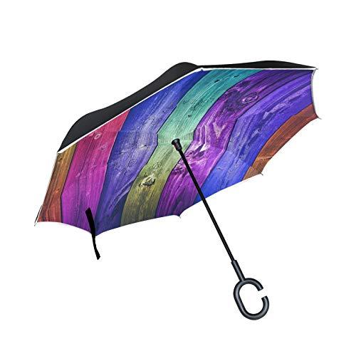 Línea De Madera De Arte Paraguas Invertido Doble Capa Inverso Reverso con Mango en Forma de C Paraguas de Plegado para Automóviles en Exteriores