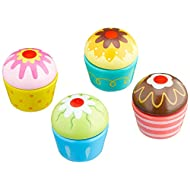 Viga Mix and Match Wooden Cupcakes - Childrens Pretend Play Food Kitchen Toy