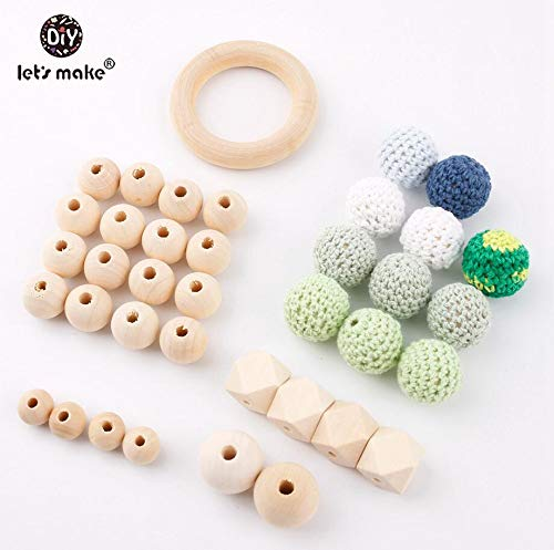 Lowest Price! Aalborg125 Let's Make Baby Silicone Teether Beads Pacifier Clips Wooden Key Teething A...