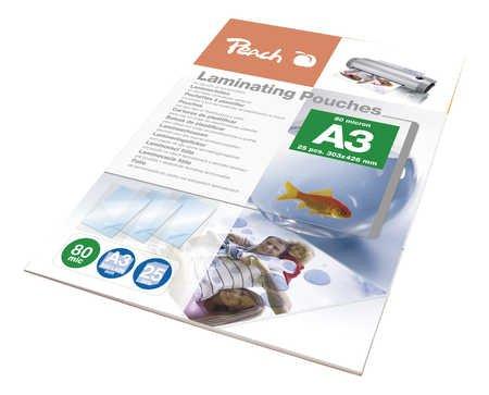 Peach PPR080-01 Laminierfolien A3, 80 mic, glänzend, 25 Stück