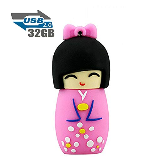 Chiavetta USB 2.0 Flash Drive, 32 GB, memoria Flash Drive, Bambola Giapponese, Rosa