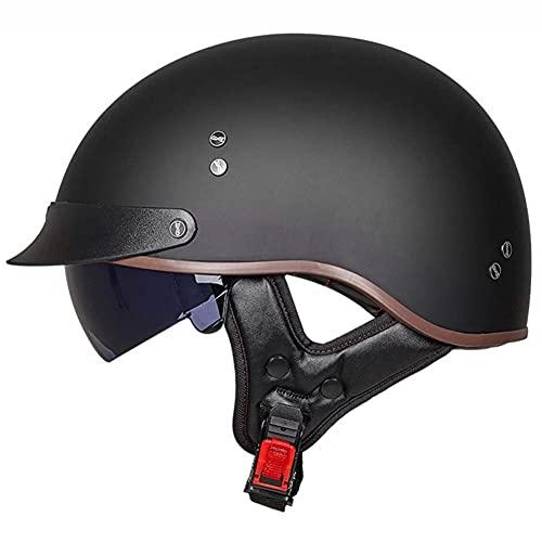 AI DI SAI Casco Abierto Protección Motocicleta Scooter Bicicleta con Visera UV Gafas Aprobado por Dot/ECE, Negro Mate/Negro Brillante/Blanco Tres Colores Disponibles,Matte Black,L=(57~58CM)
