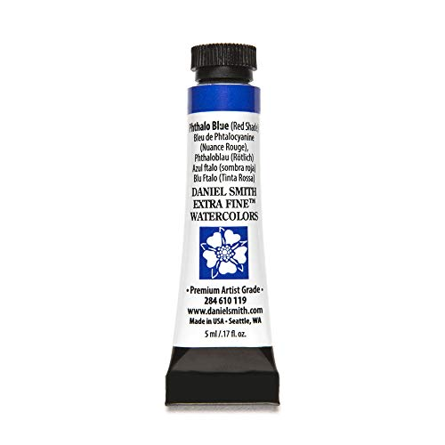 DANIEL SMITH 284610119 Extra Fine Watercolors Tube, 5ml, Phthalo Blue (Red Shade)
