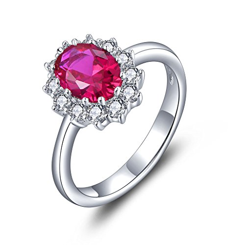 YL Damen Ring 925 Sterling Silber Oval Synthetischer Rubin Ring Verlobungsring(Größe 59)