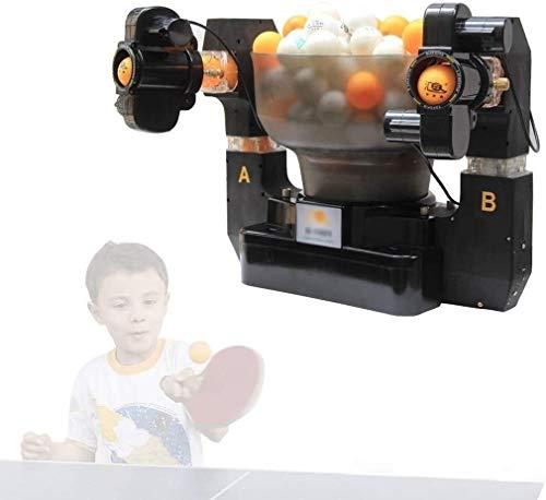 KDKDA Multi-rotación y multi-drop automática Servicio del tenis de mesa de la máquina máquina de servir a servir dispositivo de doble cabeza de la tabla pelota de tenis máquina multi-rotación y multi-
