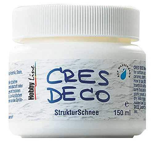 Kreul 49553 - Cres Deco, Strukturschnee auf Wasserbasis, für Untergründe wie Terrakotta, Keramik, Stein, Karton, und Leinwand, 500 ml, weiß