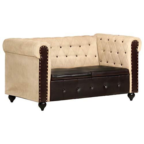 vidaXL Chesterfield Sofa 2-Sitzer Polstersofa Loungesofa Sitzbank Bank Polsterbank Sitzmöbel Ledersofa Wohnzimmersofa Braun Echtleder