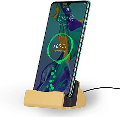 Estación de carga, cargador USB-C Docking Station, carga rápida para smartphones Android, soporte Dock Galaxy S21 S20 S10, Note 10 9, Huawei P30 Pro P20, cargador por inducción (dorado)