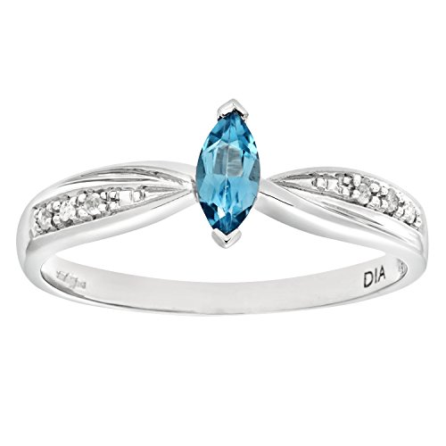 Naava Women's 9 ct White Gold Diamond and Marquise Blue Topaz Ring, Size M
