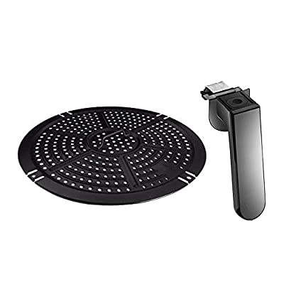 Air Fryer Upgrade Accessories Replacement Grill Pan and Button Safe Handle Fit Power 5QT Air Fryers, Crisper Plate, Air fryer Accessories, Non-Stick Fry Pan, Dishwasher Safe, With 2x Food Tong