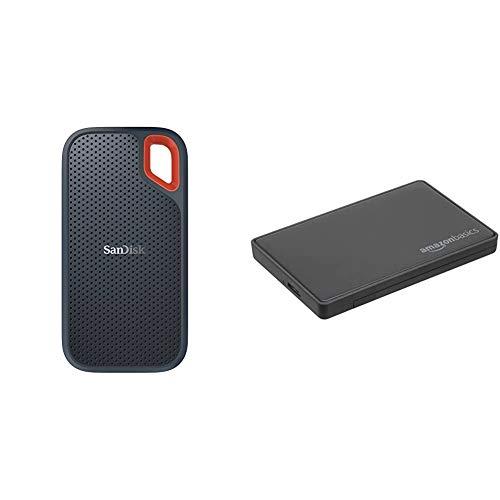 SanDisk Extreme Portable SSD Externe Festplatte 2TB SSD extern 25 Zoll 550 MBs Ubertragungsraten stosfest AES Verschlusselung grau Amazon Basics 635 cm SATA Festplattengehause USB 30