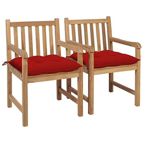 vidaXL 2X Madera Maciza de Teca Sillas de Jardín con Cojines Sillón Balcón Exterior Terraza Patio Asiento Butaca Muebles Mobiliario Rojos