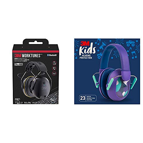3M WorkTunes Connect Hearing Protection & 3M Kids Hearing Protection Plus, Purple