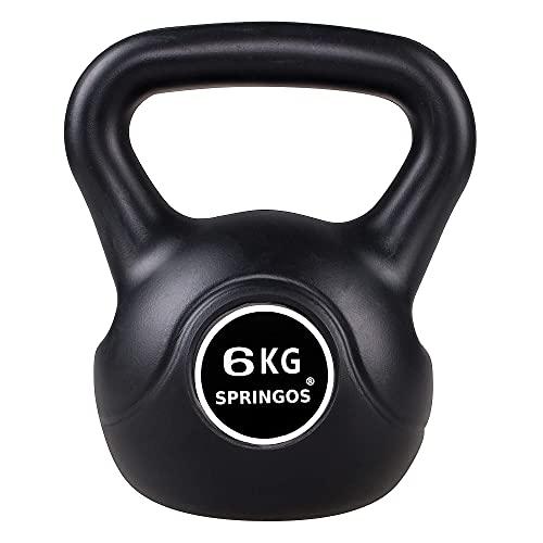 Springos Kettlebell da 4 kg, attrezzo sportivo, per fitness, aumento della muscolatura, allenamento di forza, nero, 6 kg.