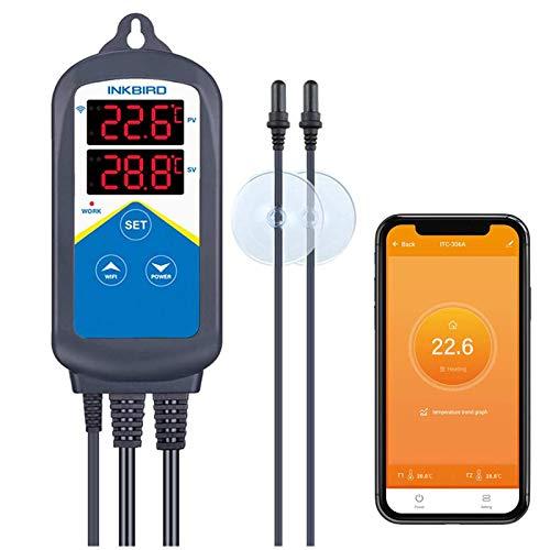 Inkbird Wi-Fi ITC-306A Digitale Termoregolatore Regolatore di Temperatura Sistema di Controllo della Temperatura a Doppia Sonda per Acquari