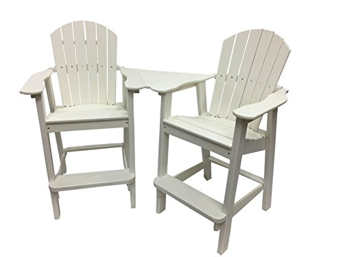 Phat Tommy Recycled Poly Resin Balcony Chair Settee – Durable and Eco-Friendly Adirondack Armchair and Removable Side Table. This Patio Furniture is Great for Your Lawn, Garden, Swimming Pool, Deck.