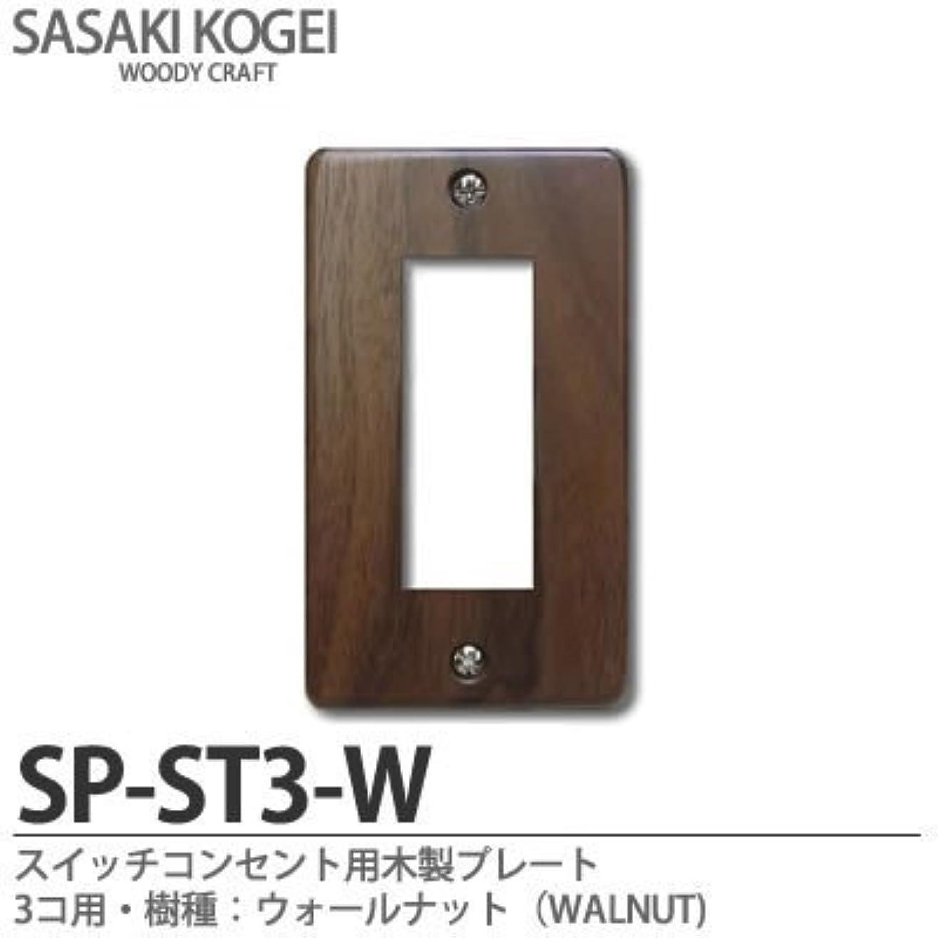 必要性音毛細血管【SASAKI KOGEI】スイッチ?コンセント用木製プレート 3個用 樹種:ウォールナット(WALNUT) SP-ST3-W