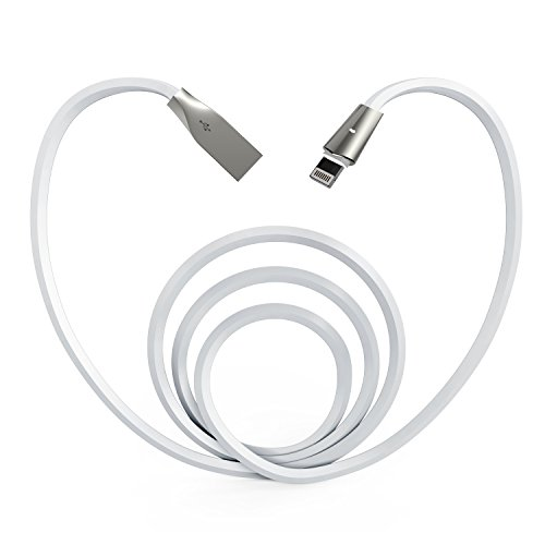 Aimus 6FT Phone Charger Cable, Fast Charger with LED Light Data Cable Line USB Charger Cable Gaming Charging Cable Cord Compatible with iPhone X/8/8 Plus/7/7 Plus/6/6s/5/5S, iPad and iPod- White