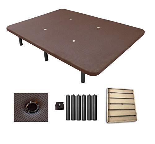 Duermete Base Tapizada 3D Reforzada 5 Barras de Refuerzo y Válvulas de Ventilación + 6 Patas, Color Chocolate, 90x190